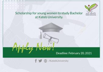 Scholarship for young women to study Bachelor at Kateb University.
